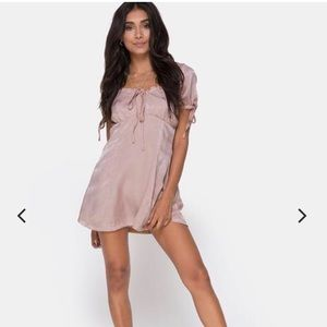 Motel Rocks Dresses - DUSTY ROSE SATIN DRESS
